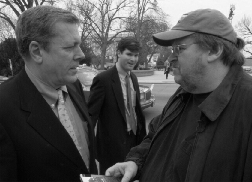 Fahrenheit 9/11: On Capitol Hill, Congressman John Tanner (D-TN) talks to Michael Moore.