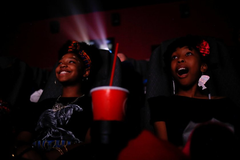 "Ron Clark Academy 6th graders Destiny Cox and Allana Walker watch the film ""Black Panther"" at Atlantic Station theaters in Atlanta"