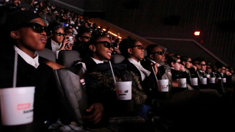 students at AMC Magic Johnson Harlem opening night in 3D photo al jazeera
